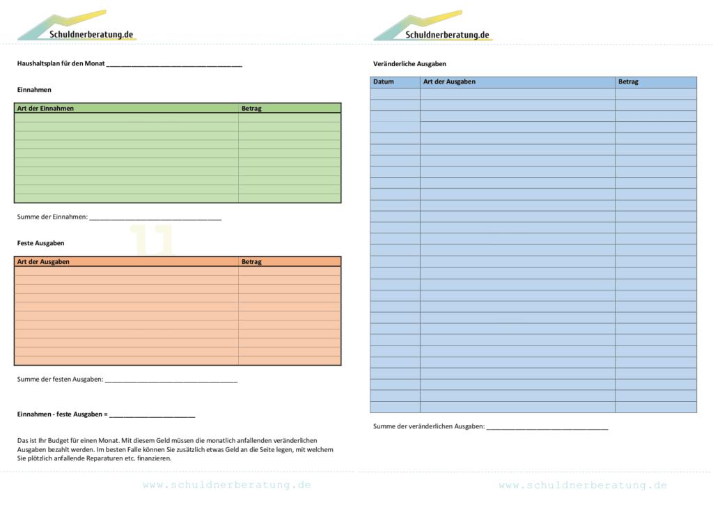 Nutzen Sie unser Haushaltsplan-Muster als Orientierung. Für eine größere Ansicht klicken Sie auf das Bild.